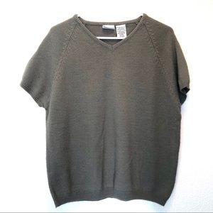 Sage Green Minimalist Short Sleeve Knit Sweater